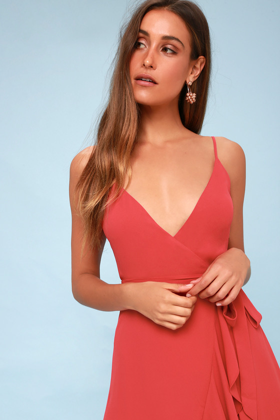 639c22ac0a Cute Wrap Dress - Midi Dress - Pink Dress - Ruffled Dress