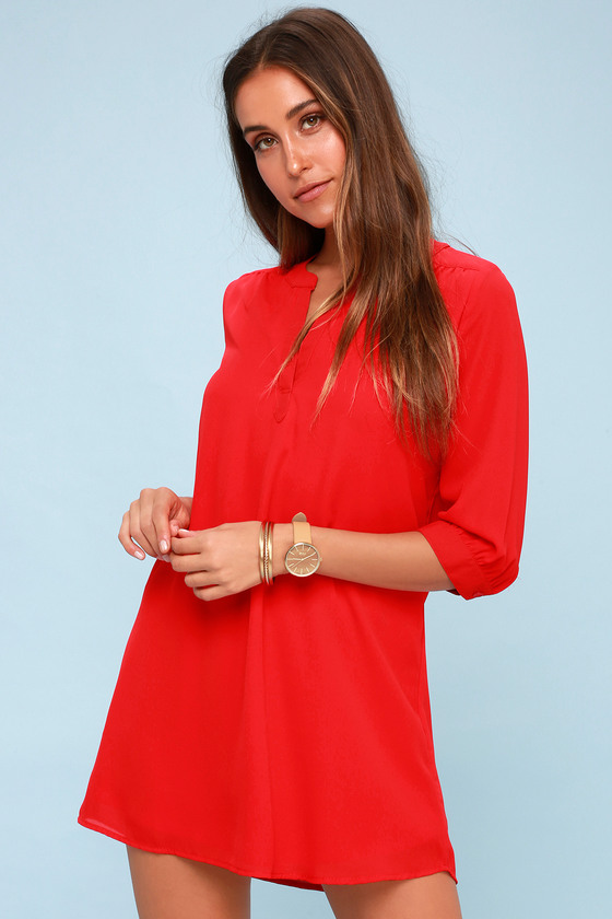 High Line Red Shift Dress by Lulus