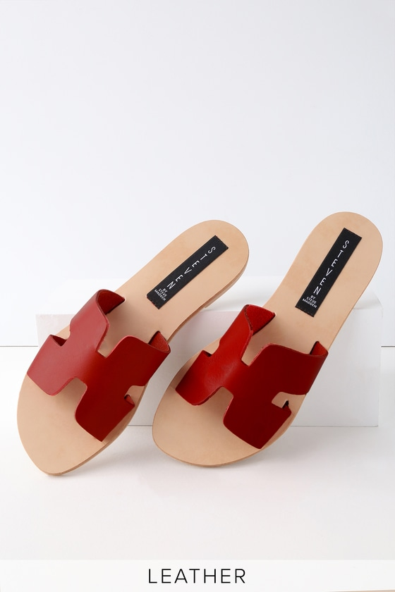 be0451878ea Greece Red Leather Slide Sandals