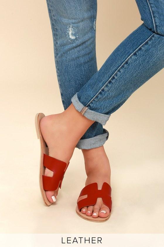 985f57acc664 Steven by Steve Madden Greece - Red Leather Slide Sandals