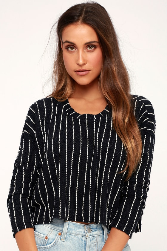 Niagara Falls Navy Blue Striped Cropped High Low Knit Sweater by Lulus
