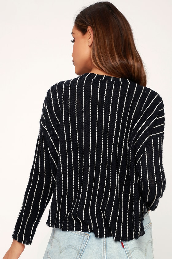 Niagara Falls Navy Blue Striped Cropped High-Low Knit Sweater 7ff801733