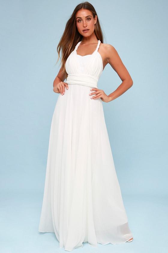f360a875fc3 White Convertible Maxi Dress - Bridal Dress - White Dress