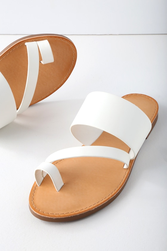 cc1a7fcce Shoptagr | Avena White Flat Sandals by Lulus