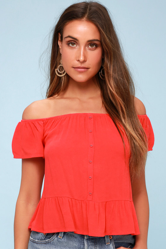 Panorama Coral Red Off The Shoulder Top by Others Follow