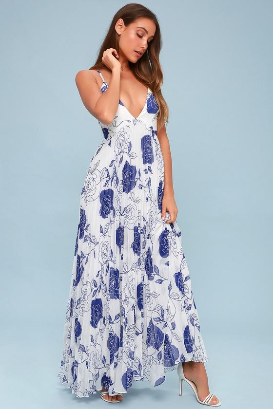 2a39b81764 Stunning Blue and White Dress - Pleated Maxi Dress