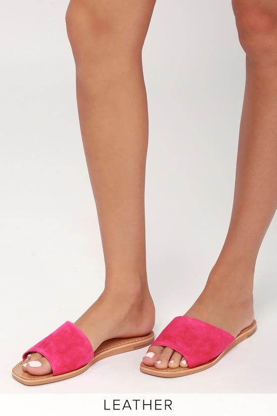8e7394ed77c Dolce Vita Cato - Fuchsia Sandals - Suede Slide Sandals