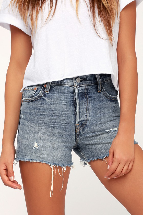 Wedgie Fit Medium Wash Distressed Denim Shorts by Levi's