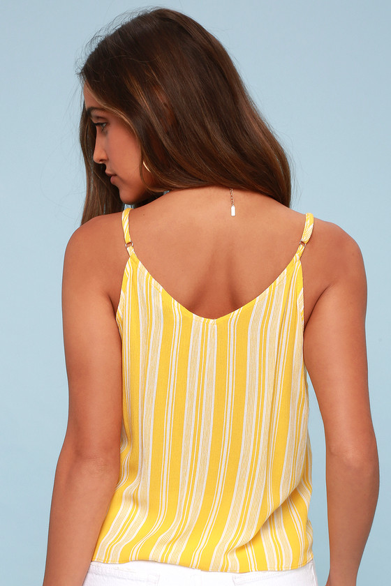 2bd85f105d3f9e Cute Yellow Striped Top - Button-Up Top - Tie-Front Tank Top