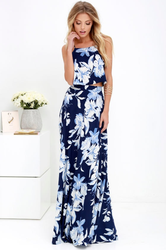 0f28effe3f0e7 Lovely Blue Floral Print Dress - Two-Piece Dress -Maxi Dress