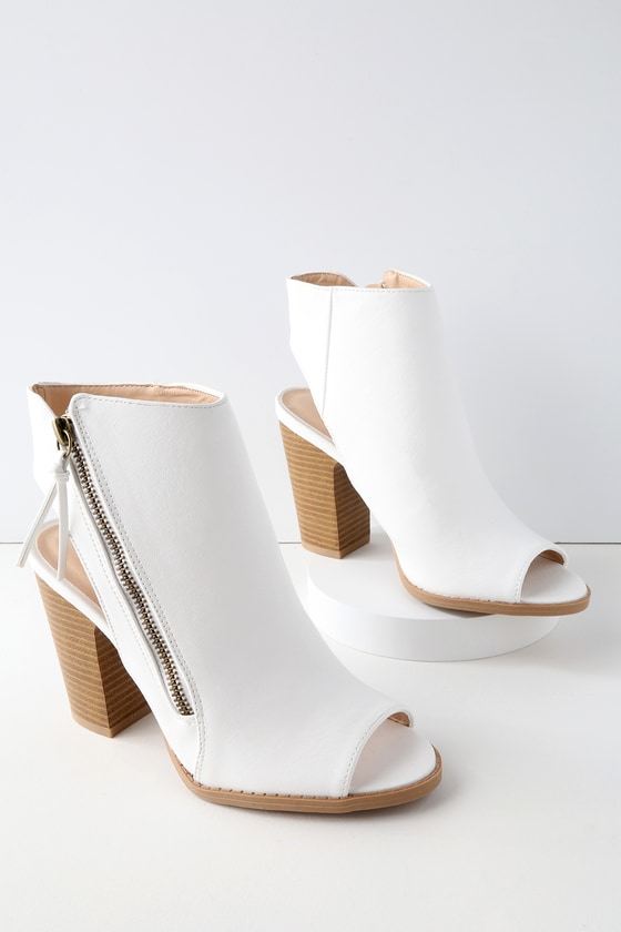 Bartlett White Peep Toe Ankle Booties by Lulu's