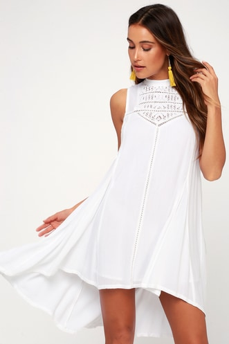 193ff379d95c1 Issi White Crochet Lace High-Low Dress