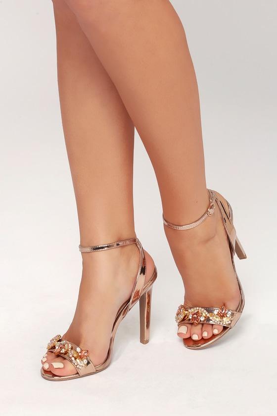 fb647bacffd79 Chic Rose Gold Heels - Rhinestone Heels - Ankle Strap Heels