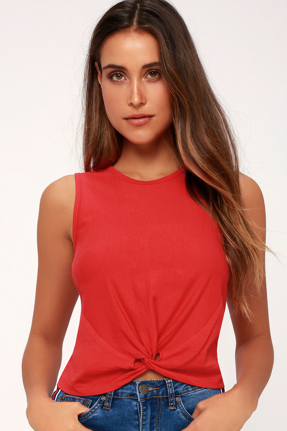672e7c31a0e96 Cute Red Top - Crop Top - Knotted Top - Workout Top