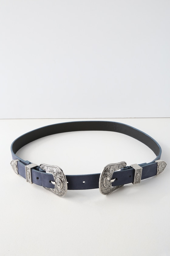 Winding Road Silver And Blue Double Buckle Belt by Lulus