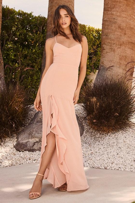 Luxurious Love Blush Lace-Up Maxi Dress