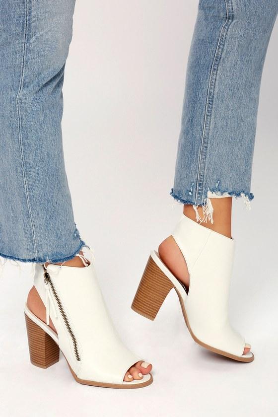 4de17d024 Cool Peep-Toe Booties - White Booties - Ankle Booties