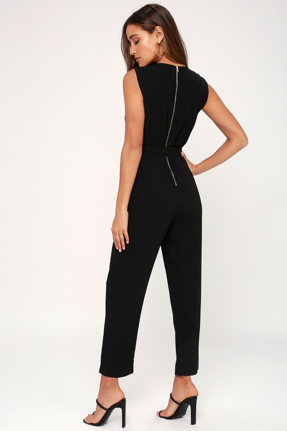 2fae78d686a Chic Black Jumpsuit - Belted Jumpsuit - Tuxedo Jumpsuit