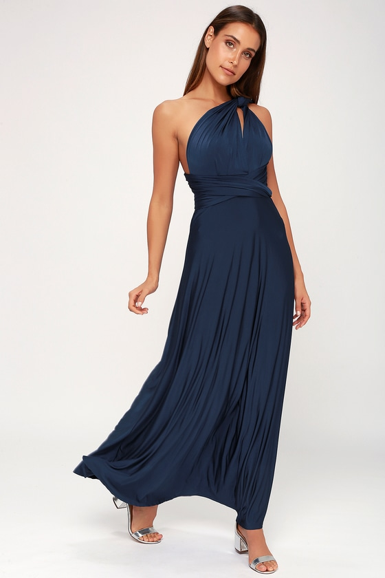 38b8611c9810 Convertible Dress - Maxi Navy Blue Dress - Infinity Dress