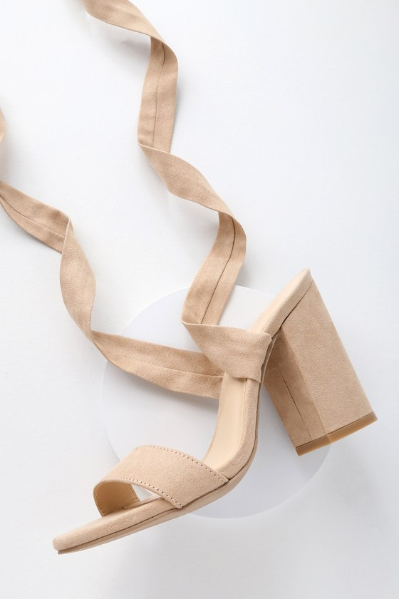 d63ecb1d00a8 Sexy Natural Heels - Lace-Up Heels - Vegan Leather Heels