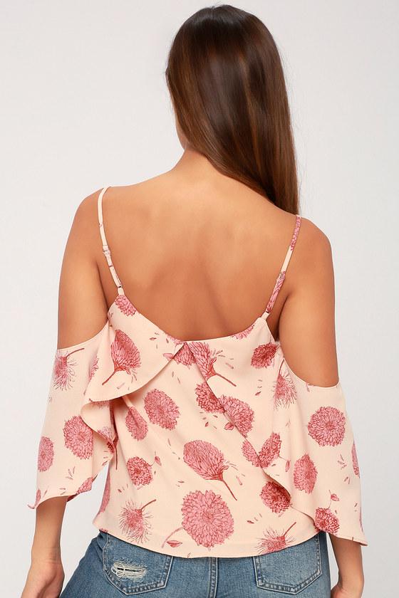 60c8a696734fa Cute Blush Pink Floral Print Top - Off-the-Shoulder Top