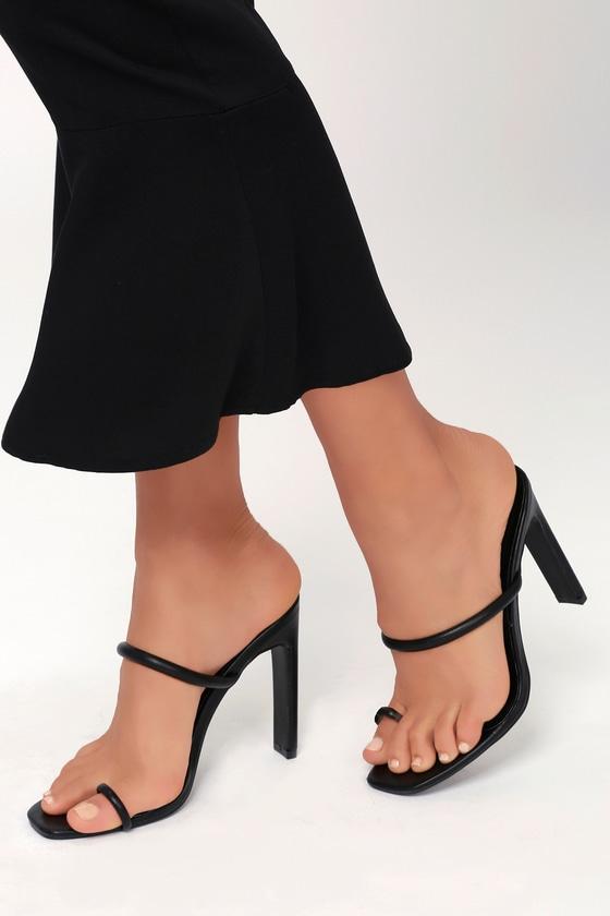 35d10bdcdbb563 Black Heeled Sandals - Vegan Leather Heels - Toe Loop Heels