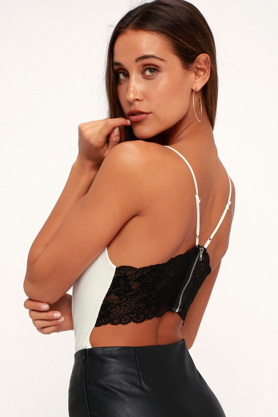 Chelsey Black And White Backless Lace Bodysuit by Lulus