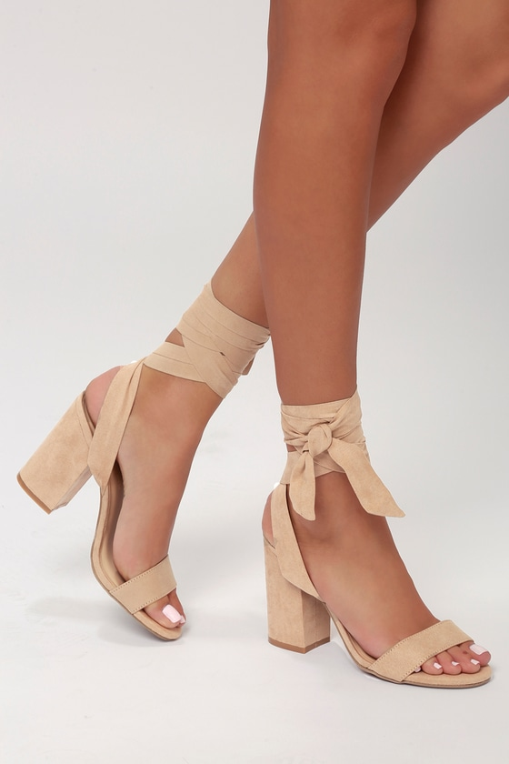 be82d07df09 Sexy Natural Heels - Lace-Up Heels - Vegan Leather Heels