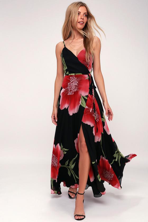 e8009cd03 Lovely Black Floral Print Maxi Dress - Floral Wrap Dress