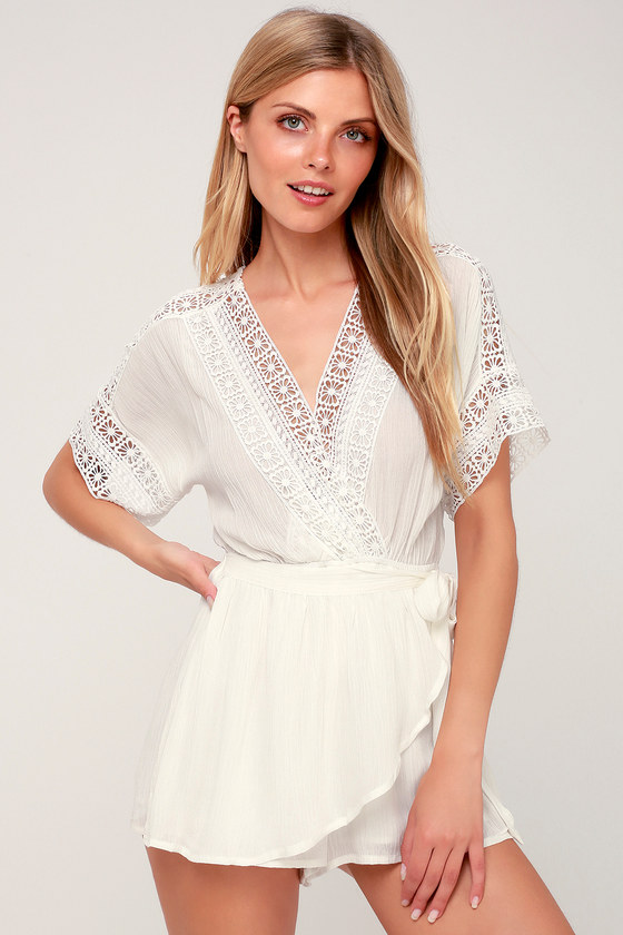 Rylen White Lace Swim Romper Cover Up by Lulus