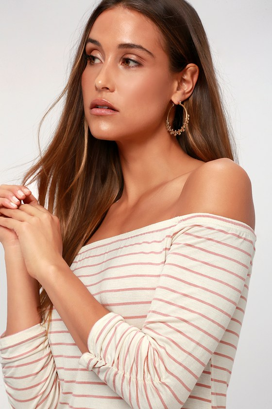 Chilled Out White And Pink Striped Off The Shoulder Top by Lulus