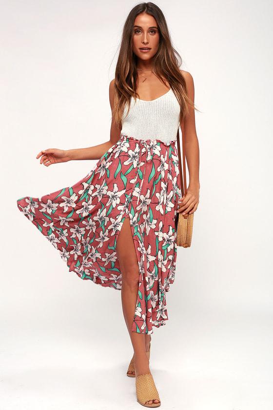 d9473c7187a O'Neill Kalani Skirt - Pink Floral Print Skirt - Maxi Skirt