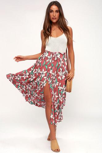 1bc0eaaf5be Kalani Rusty Rose Floral Print Maxi Skirt