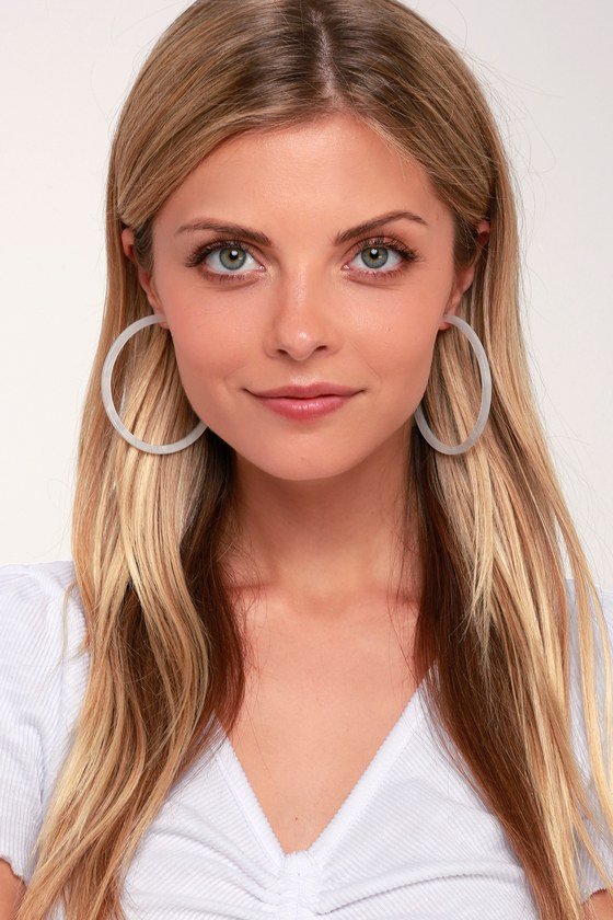Multitasker White Acrylic Hoop Earrings by Lulus