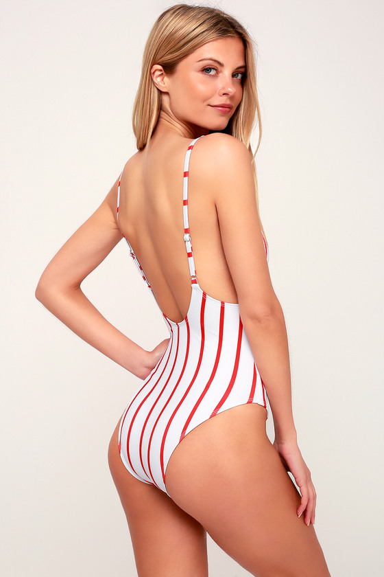 c71f21e5006cd Cute Swimsuit - Red Striped Swimsuit - One-Piece Swimsuit