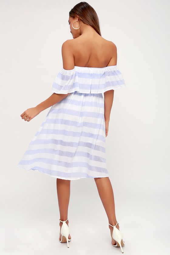 2b41178da370be Blue and Ivory Striped Dress - Off-the-Shoulder Midi Dress