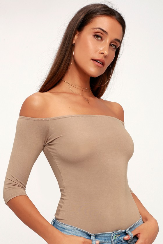 Upstage Light Brown Off The Shoulder Top by Lulus