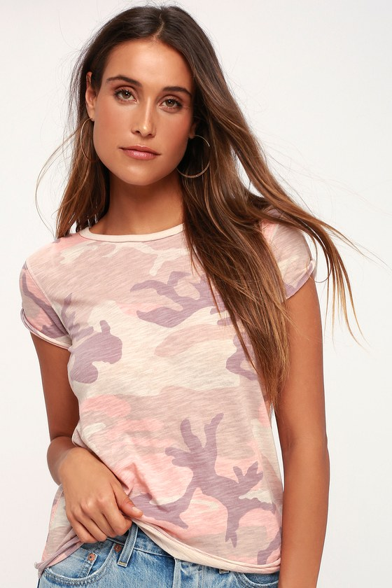 Clare Pink Camo Print Tee by Free People