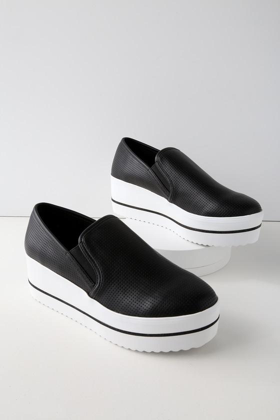 3a6384cd281 Steve Madden Becca - Black Platform Sneakers - Slip-Ons