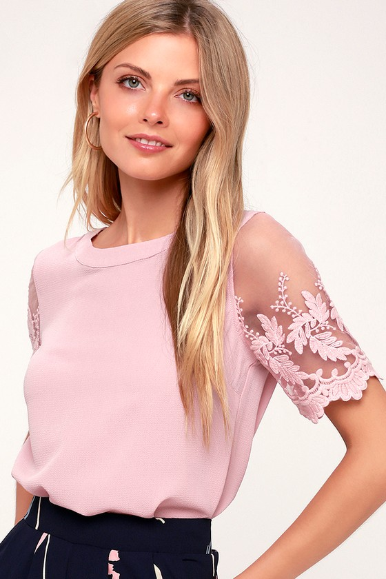 2d22f1caf35 Chic Mauve Pink Top - Embroidered Top - Short Sleeve Top