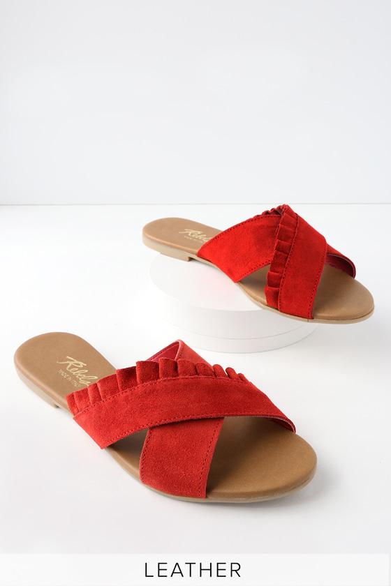 Lulus Daray Indie Leather Slide Sandal Heels - Lulus p1bxA5cYyQ