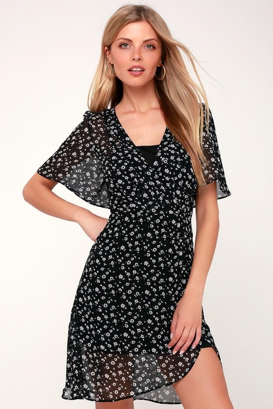 626cc9f579 Cute Black Dress - Floral Print Dress - Black Surplice Dress
