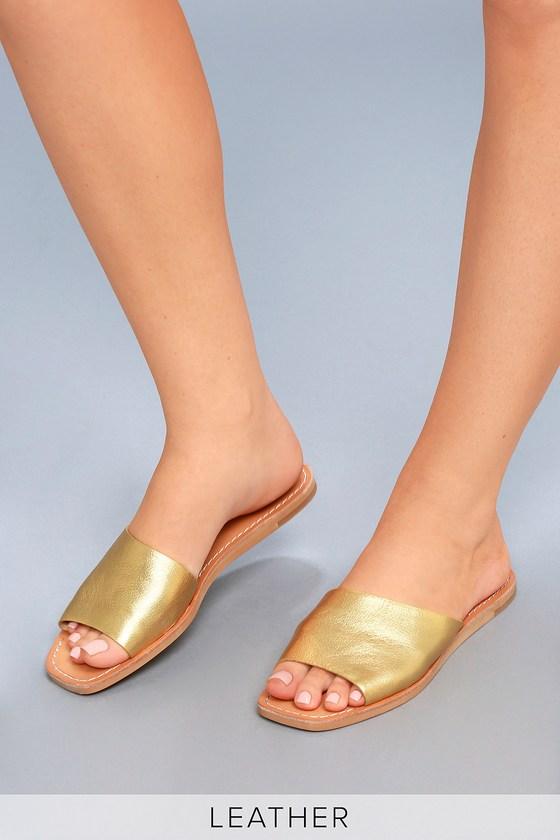 7d94a5624ab Dolce Vita Cato - Gold Slide Sandals - Leather Slide Sandals