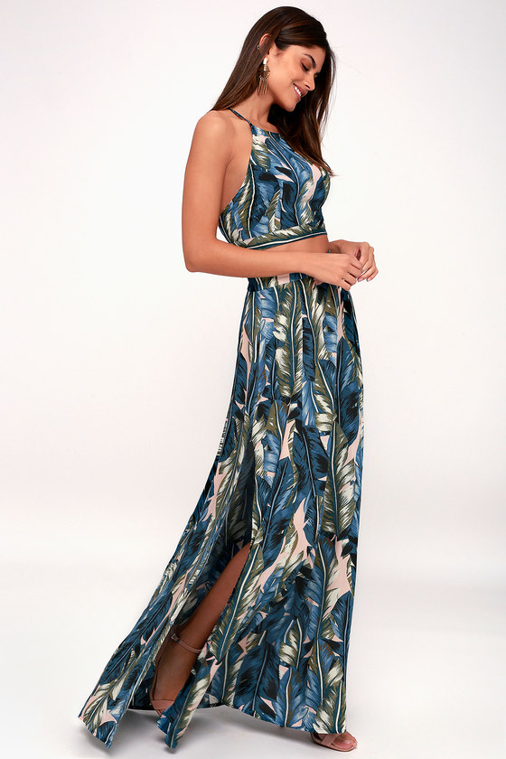fc8cc5e21043 Back to Your Roots Teal Blue Leaf Print Two-Piece Maxi Dress