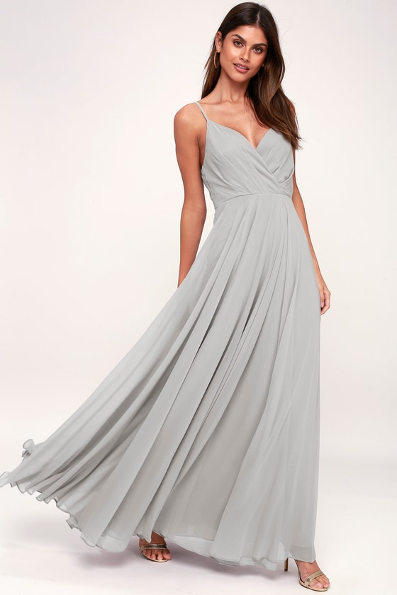750d44b2990ef Lovely Light Grey Dress - Maxi Dress - Bridesmaid Dress