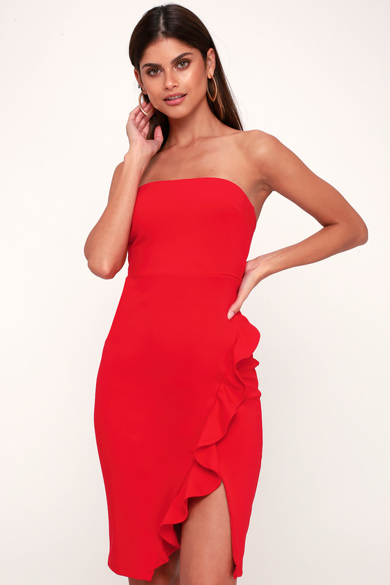 45115635a808b Sexy Red Boydcon Dress - Strapless Dress - Ruffled Dress