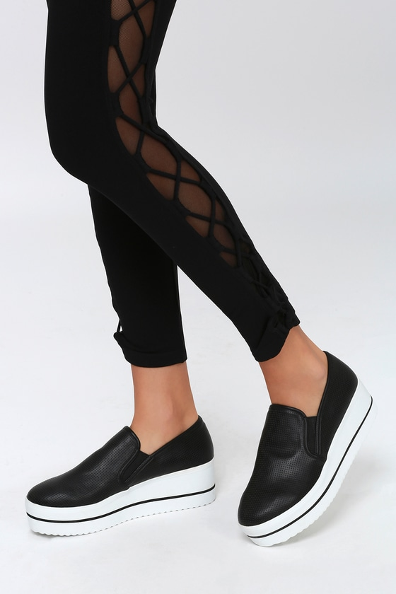 8325746b98f Becca Black Perforated Slip-On Platform Sneakers