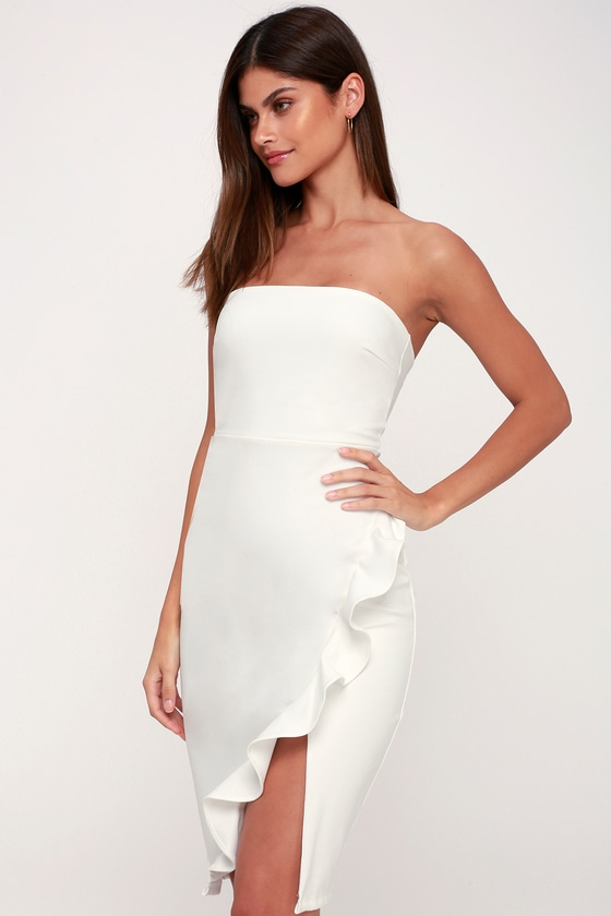 fea3821b88942 Sexy White Boydcon Dress - Strapless Dress - Ruffled Dress