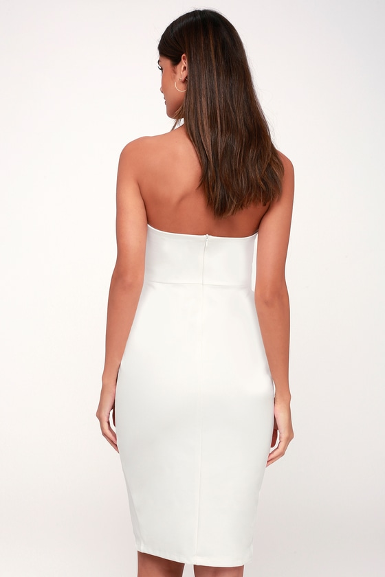f84a8b9024 Sexy White Boydcon Dress - Strapless Dress - Ruffled Dress