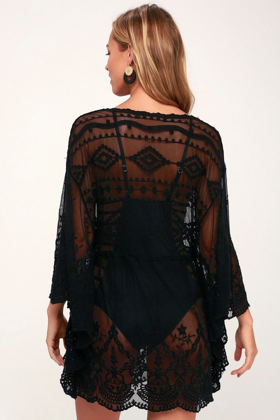 d657d4427a Sexy Black Swim Cover-Up - Crochet Lace Cover-Up